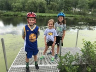 Early summer adventure looking for turtles in Reeds Lake (Connor, Queen Elizabeth and neighbor Claire).