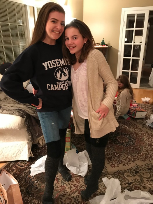 Allison and Kendall show off their above the knee socks from Staci's mom Gail.